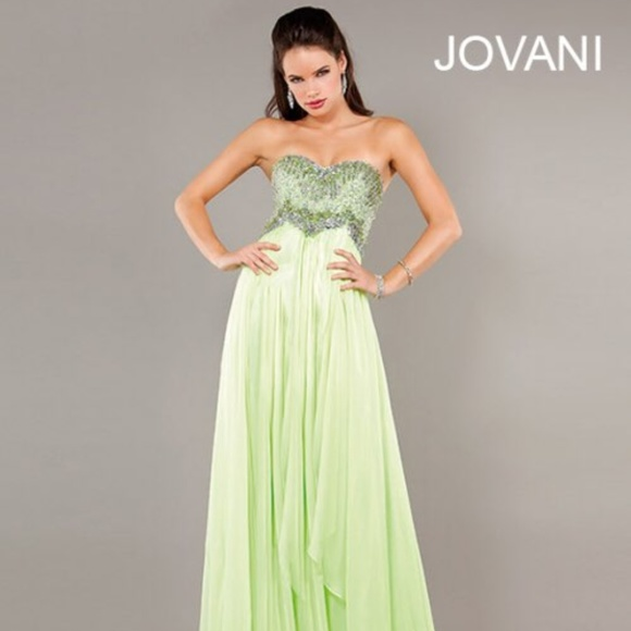 7a90c6373be JOVANI Lime Green Beaded Chiffon Prom Gown! NEW!